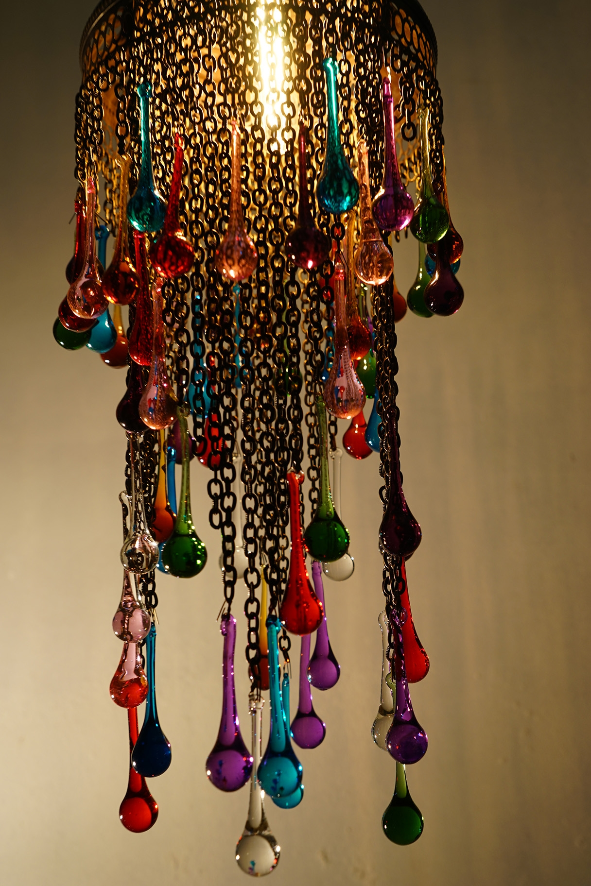 Coloured Glass Tear Drop Chandelier The Dancing Pixie Intended For Coloured Glass Chandelier (Image 4 of 15)