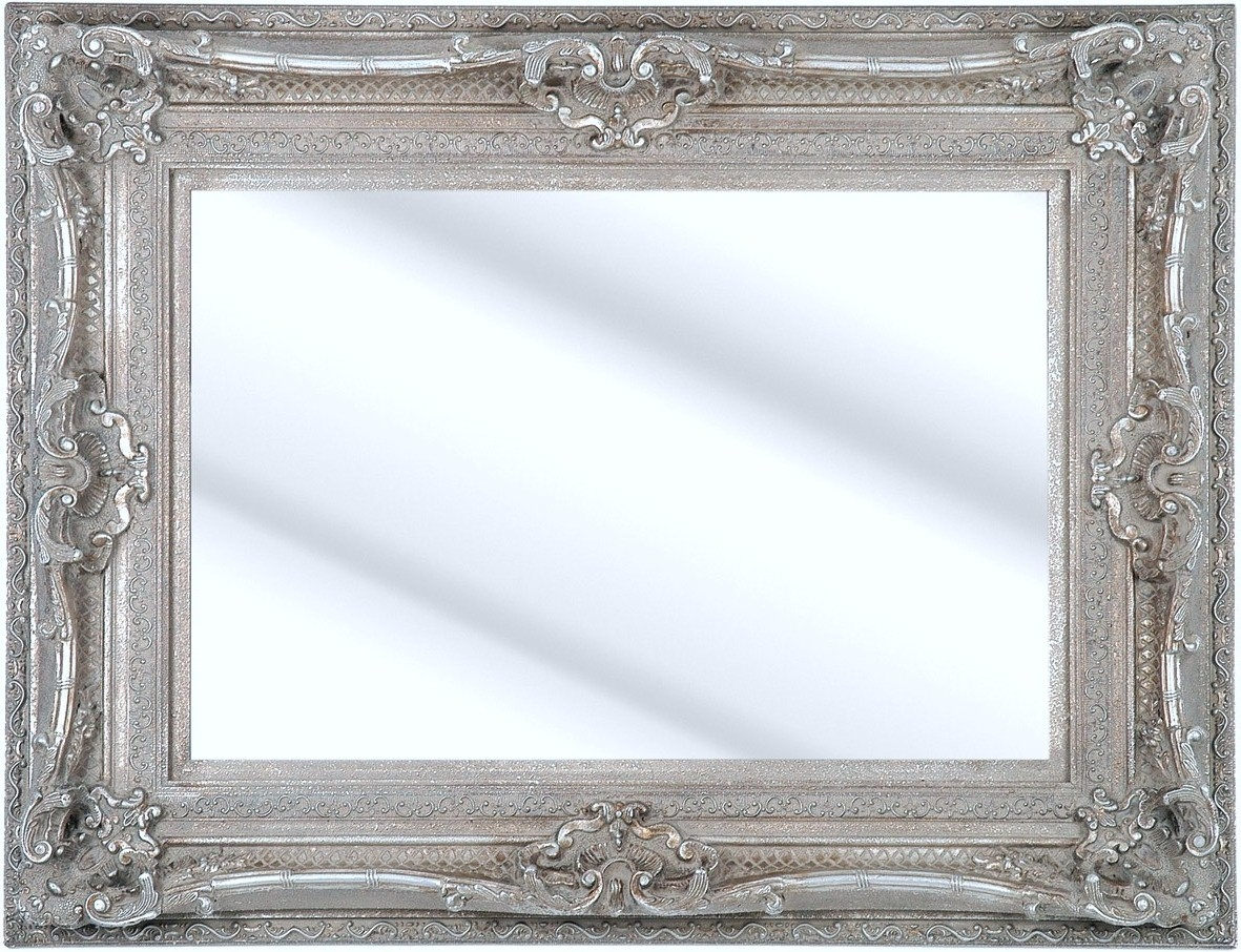 Como Silver Framed Ornate Bevelled Mirror 6 Sizes Click Image To Within Large Ornate Silver Mirror (Image 4 of 15)