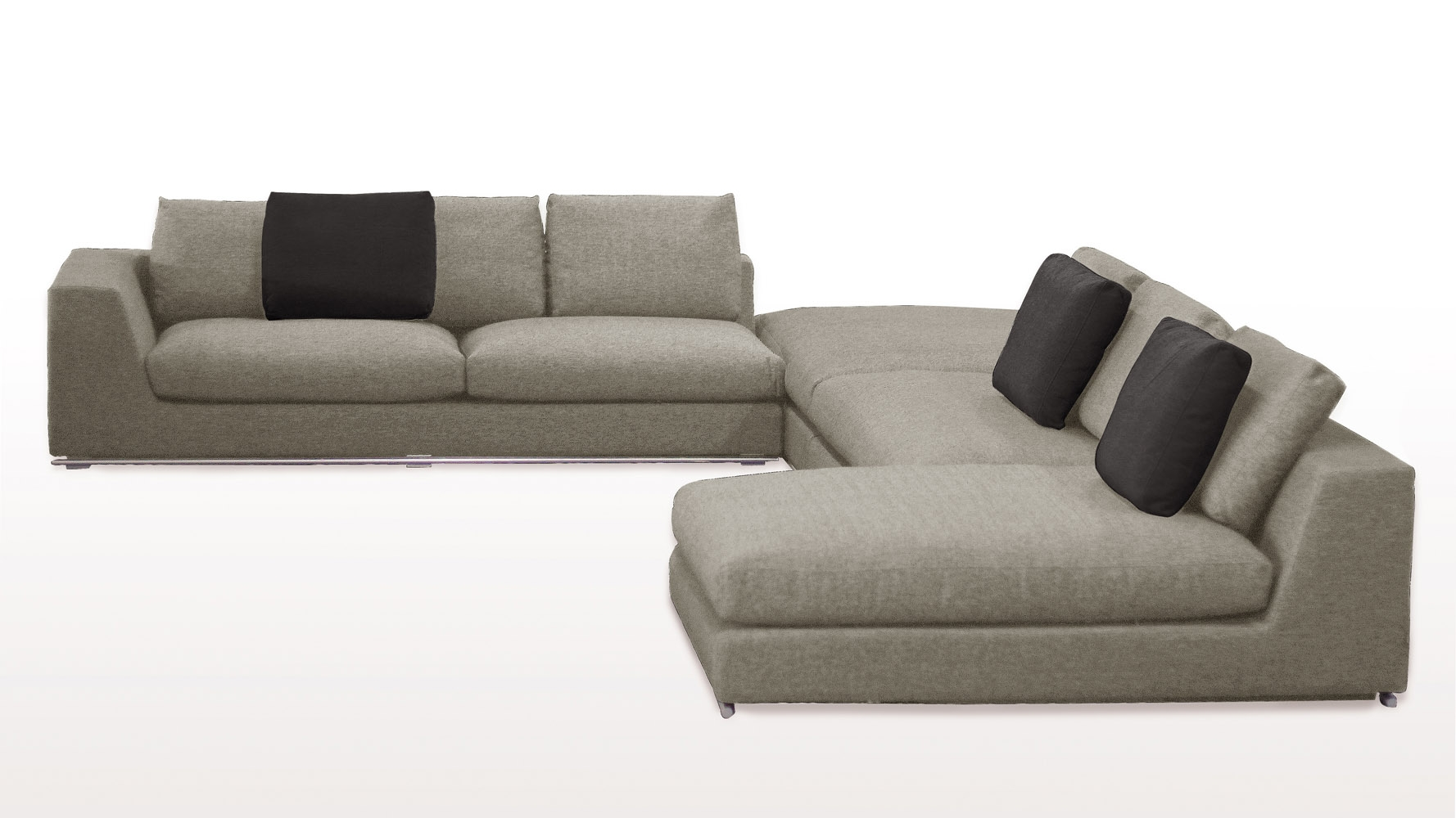 Comodo Sectional Sofa With Ottoman Grey Zuri Furniture For Armless Sectional Sofas (Image 12 of 15)