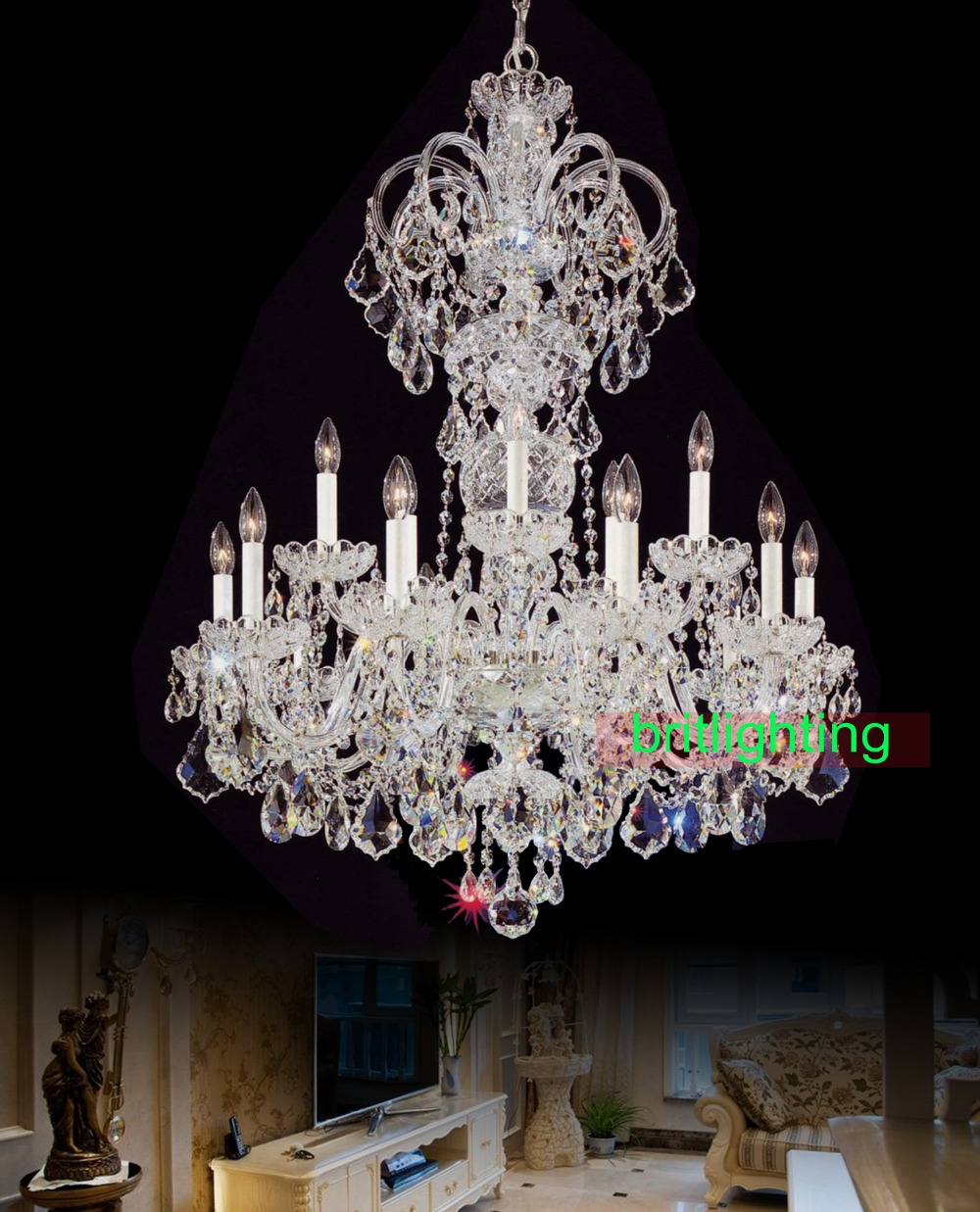 Compare Prices On Bohemian Crystal Chandelier Online Shoppingbuy Regarding Big Crystal Chandelier (Image 8 of 15)