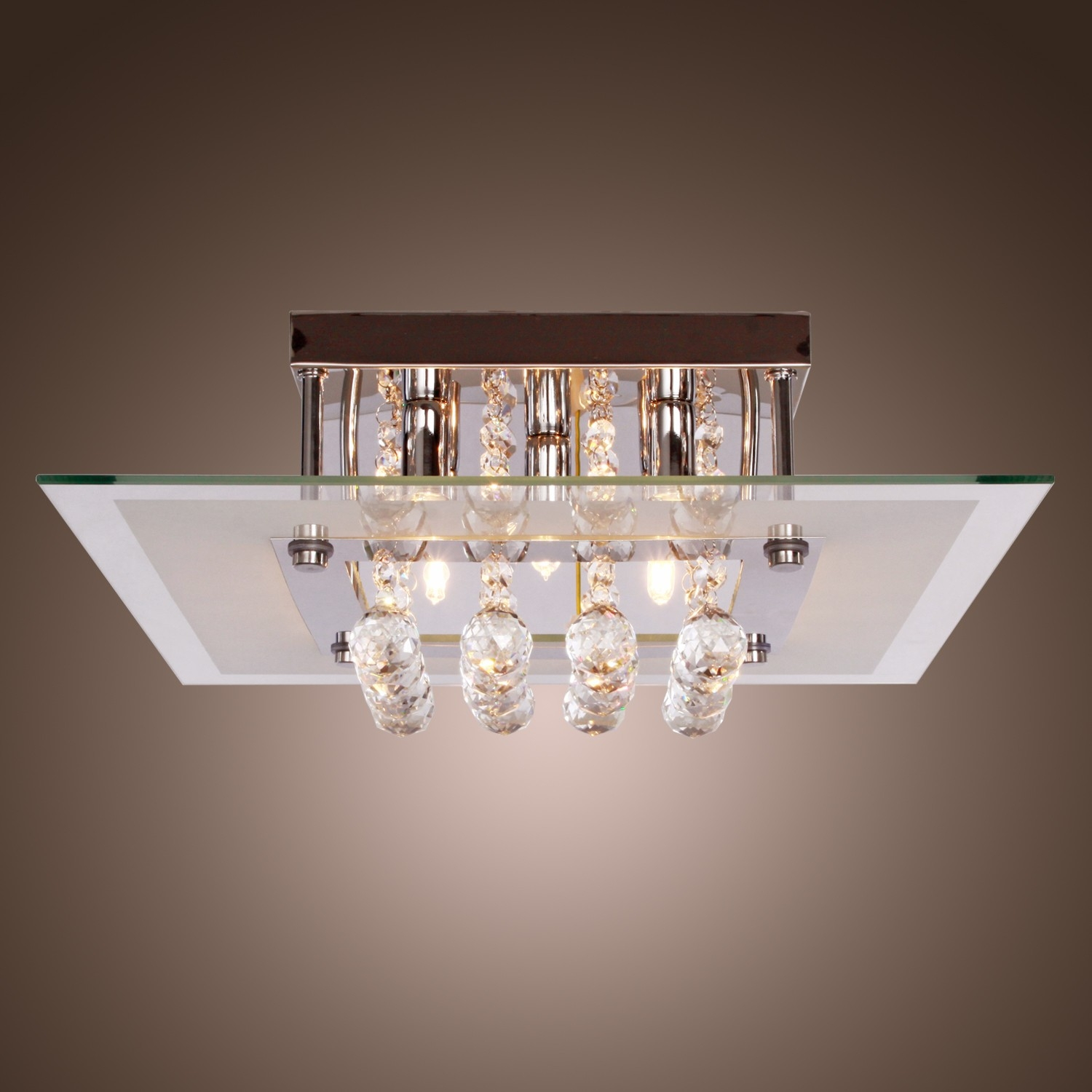 Comtemporary Crystal Drop Flush Mount Lights With 5 Lights In With Modern Light Chandelier (View 8 of 15)