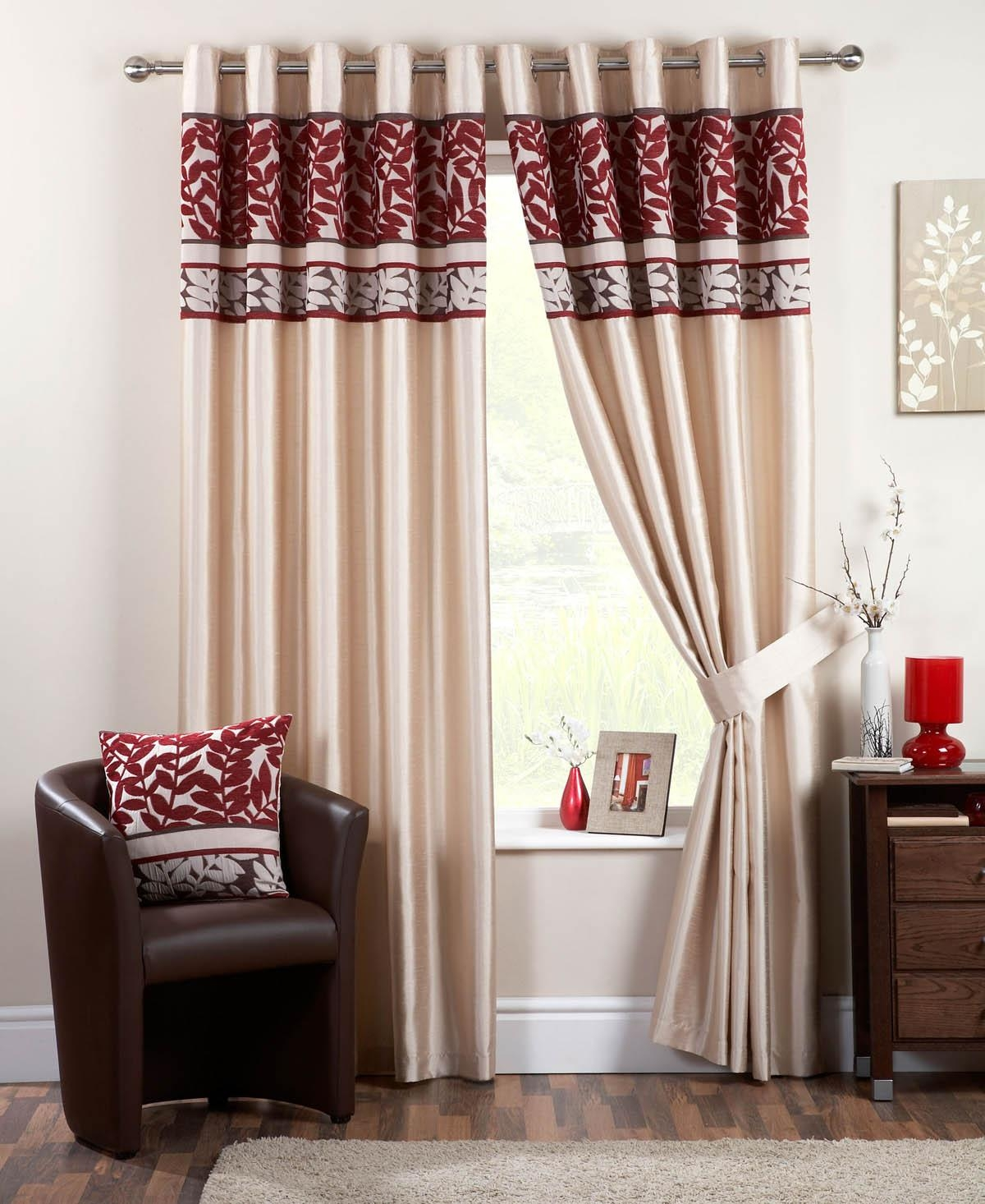 Coniston Eyelet Lined Curtains Red Free Uk Delivery Terrys Fabrics With Regard To Double Lined Curtains (Image 3 of 15)