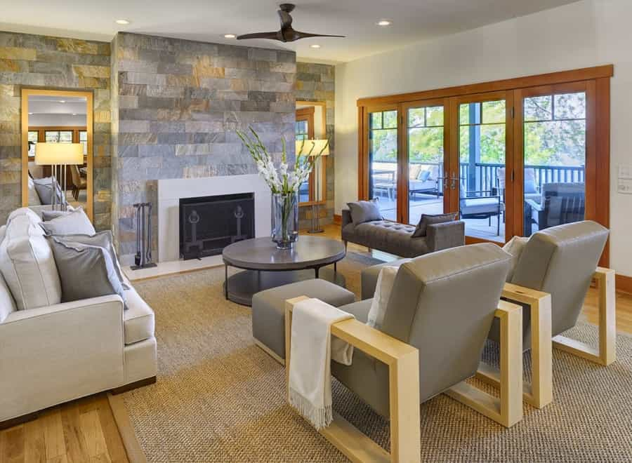 Featured Image of Contemporary Craftsman Living Room With Slate Wall
