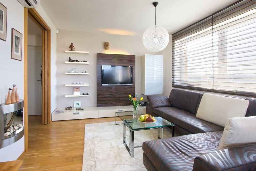 Featured Image of Contemporary Modern Wall Mounted TV Stand With Wood Accent