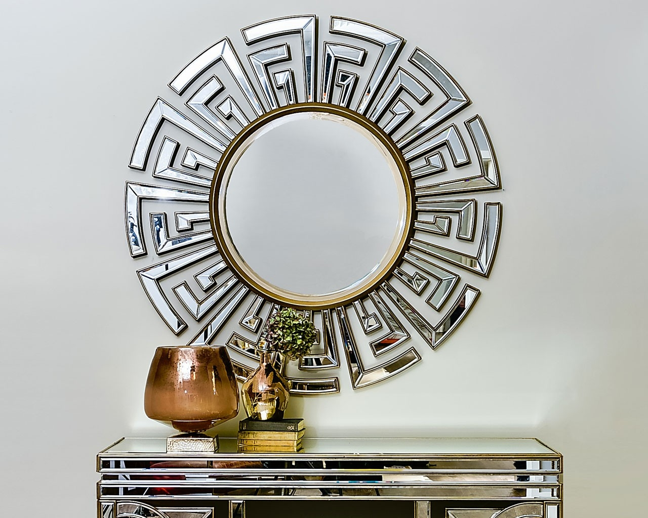 Contemporary Art Deco Round Mirror Statement Circular Mirrors Inside Round Art Deco Mirror (Image 9 of 15)