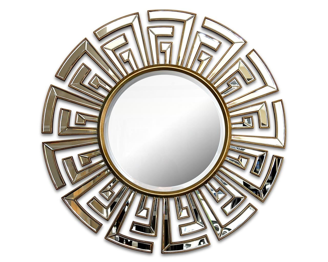 Contemporary Art Deco Round Mirror Statement Circular Mirrors Inside Round Art Deco Mirror (Image 8 of 15)