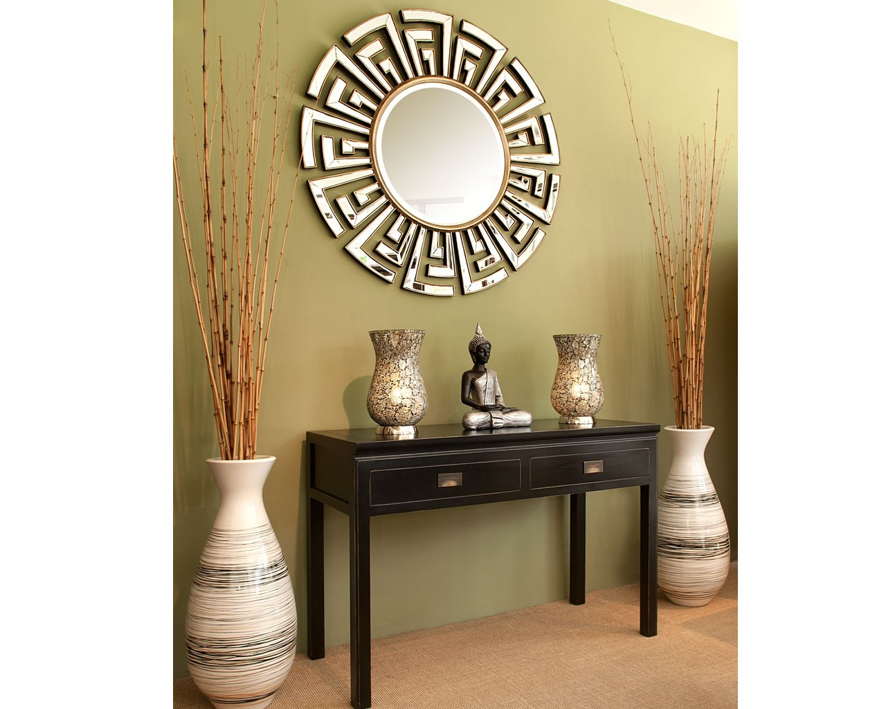 Contemporary Art Deco Round Mirror Statement Circular Mirrors Pertaining To Round Art Deco Mirror (Image 10 of 15)