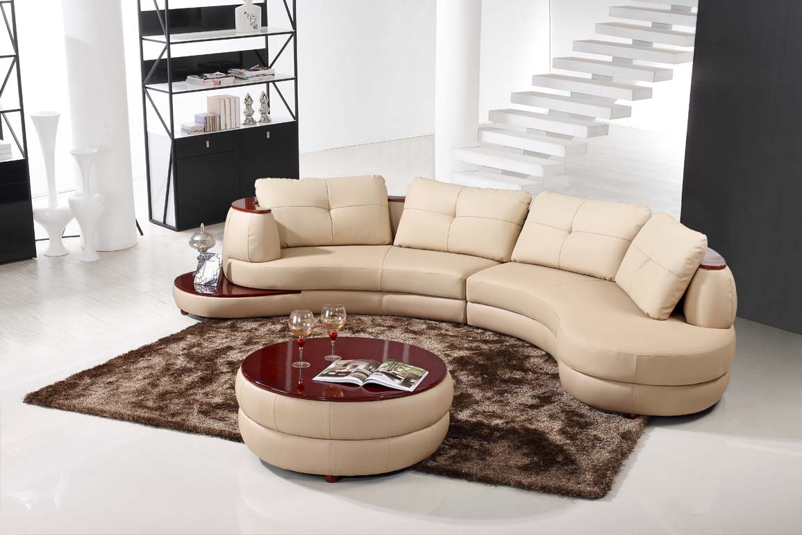 Contemporary Beige Leather Sectional Curved Sofa With Round Modern Intended For Contemporary Curved Sofas (View 4 of 15)