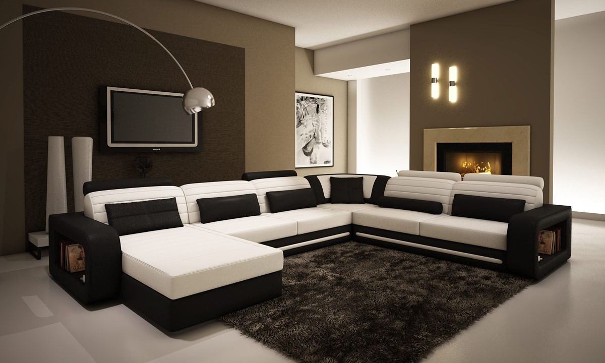 Contemporary Black And White Leather Sectional Sofa Pertaining To Black And White Sectional Sofa (Image 7 of 15)
