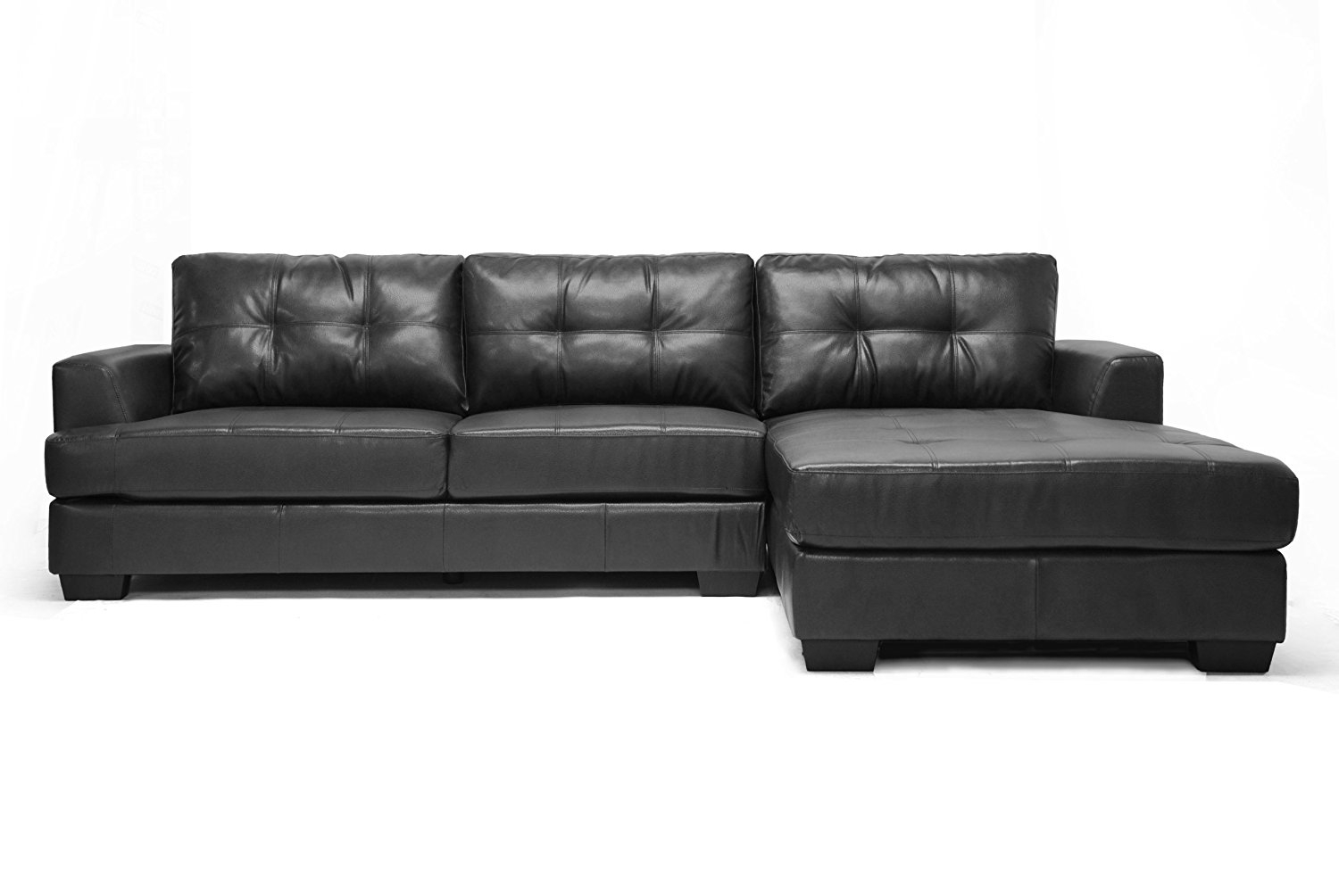 Contemporary Black Leather Sectional Sofa Left Side Chaise In Contemporary Black Leather Sectional Sofa Left Side Chaise (Image 4 of 15)