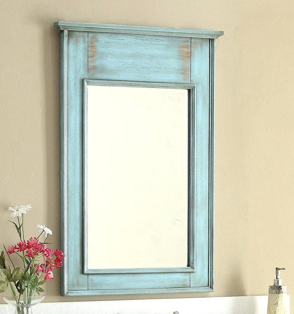Contemporary Black Wall Mirror 60 Distressed Blue Single Sink With Blue Distressed Mirror (Image 4 of 15)
