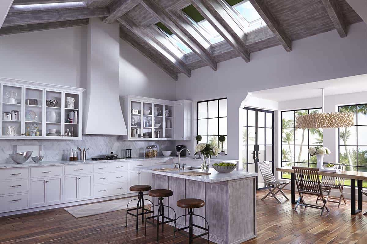 Contemporary Dining Room And Kitchen With Wooden Ceiling Featured Vertical Blinds Shades For Skylights (Image 3 of 25)