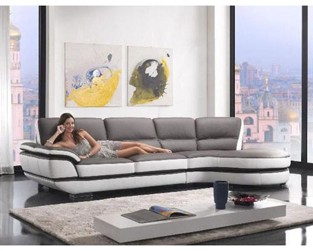 Contemporary European Style Eco Leather Sectional Sofa 44l6068 With Regard To European Style Sofas (Image 8 of 15)