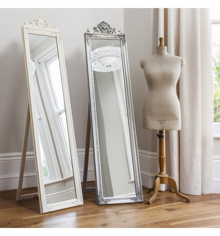 Contemporary Gallery Lambeth Wood Cheval Mirror In Silver Or Matt Within Free Standing Silver Mirror (Image 8 of 15)