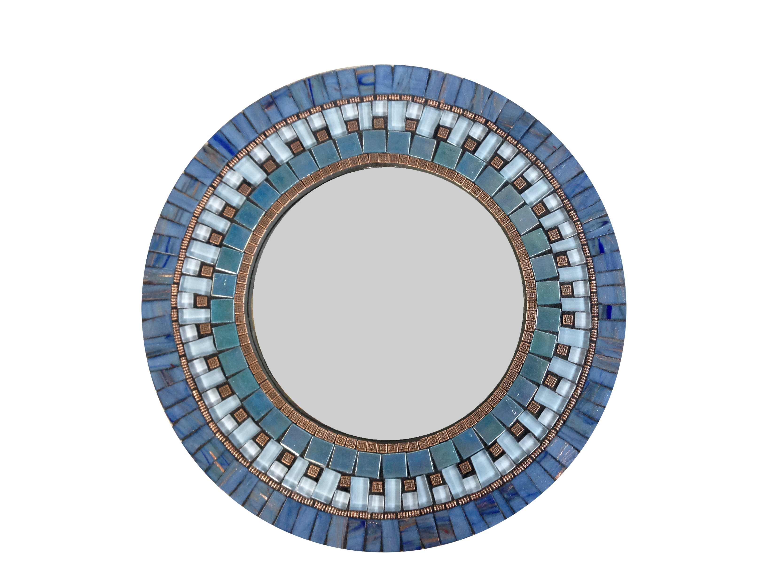 Contemporary Ideas Blue Wall Mirror Cool Design Blue Mosaic Mirror Intended For Round Mosaic Wall Mirror (Image 4 of 15)