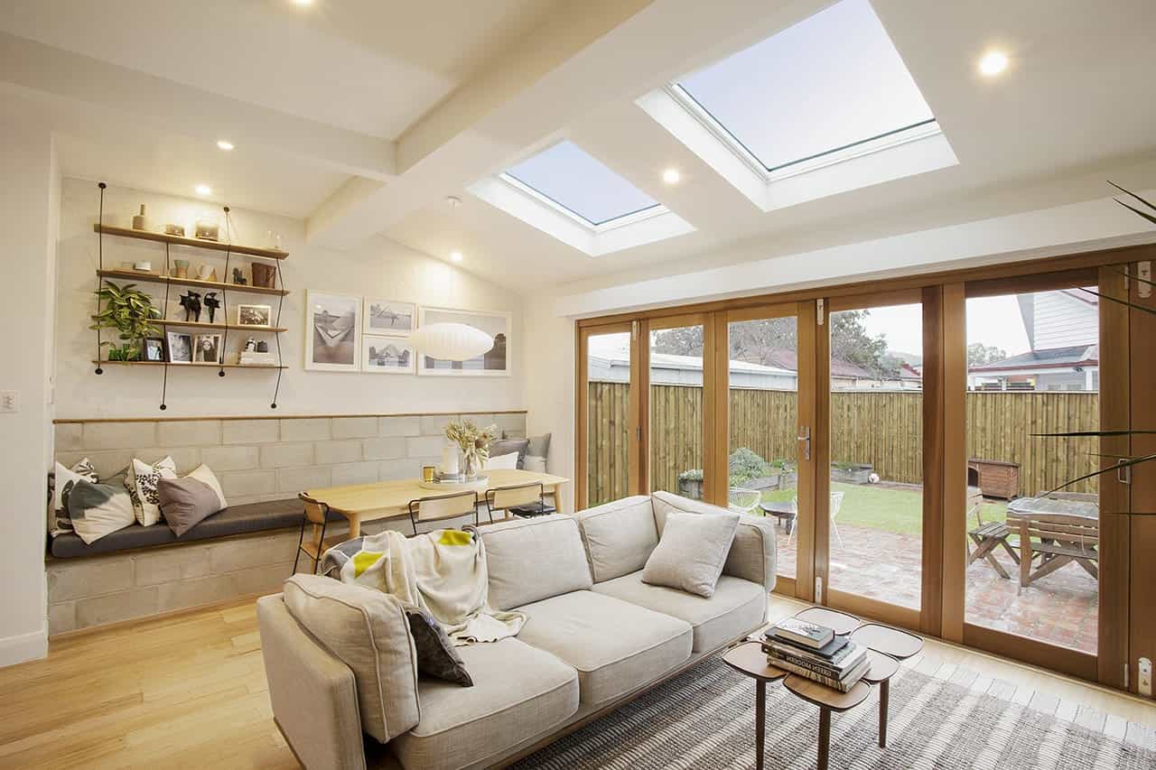 Contemporary Living Room Featured Horizontal Skylights (View 25 of 25)