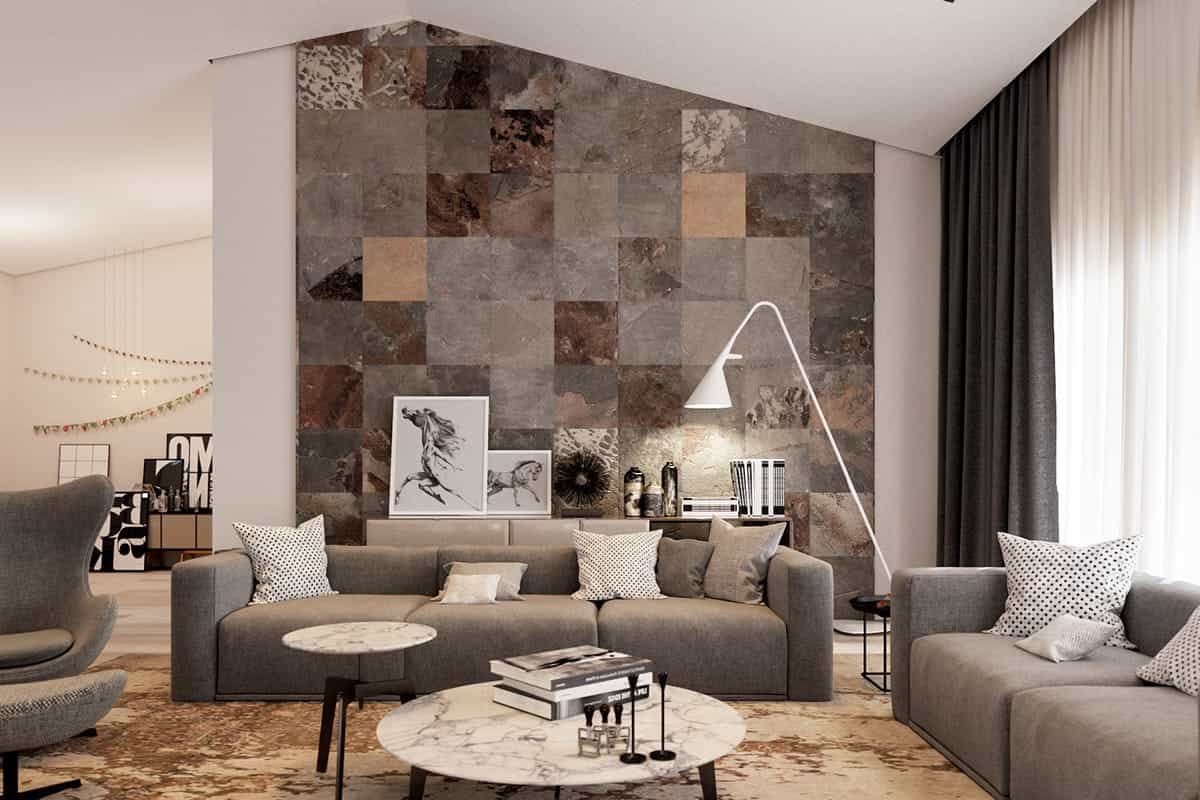 Featured Image of Contemporary Living Room With Rustic Ceramic Wall Tiles