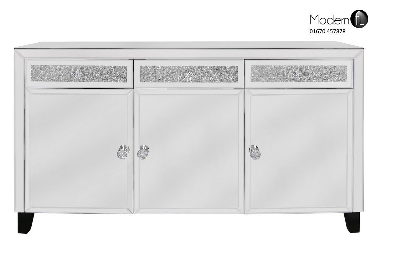 Contemporary Mirrored And Small Crystal Sideboard Venetian Regarding Venetian Mirrored Sideboard (Image 2 of 15)