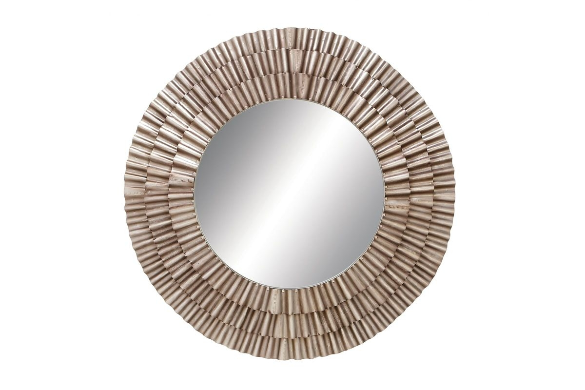 Contemporary Round Wall Mirror With Champagne Iron Frame Uma In Contemporary Round Mirror (View 13 of 15)