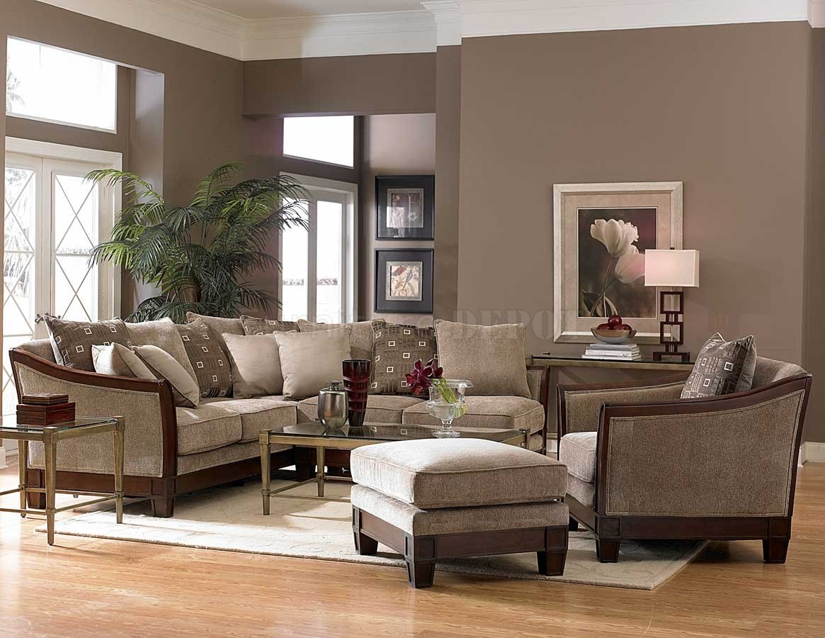 Contemporary Sectional Sofa And Ottoman Set In Chenille Fabric Inside Chenille And Leather Sectional Sofa (Image 9 of 15)