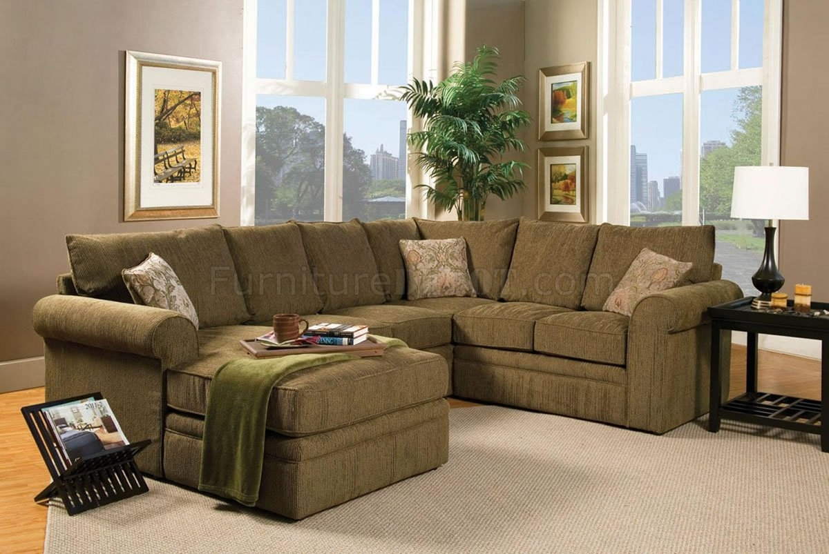 Contemporary Sectional Sofa And Ottoman Set In Chenille Fabric Within Chenille Sectional Sofas (Image 7 of 15)