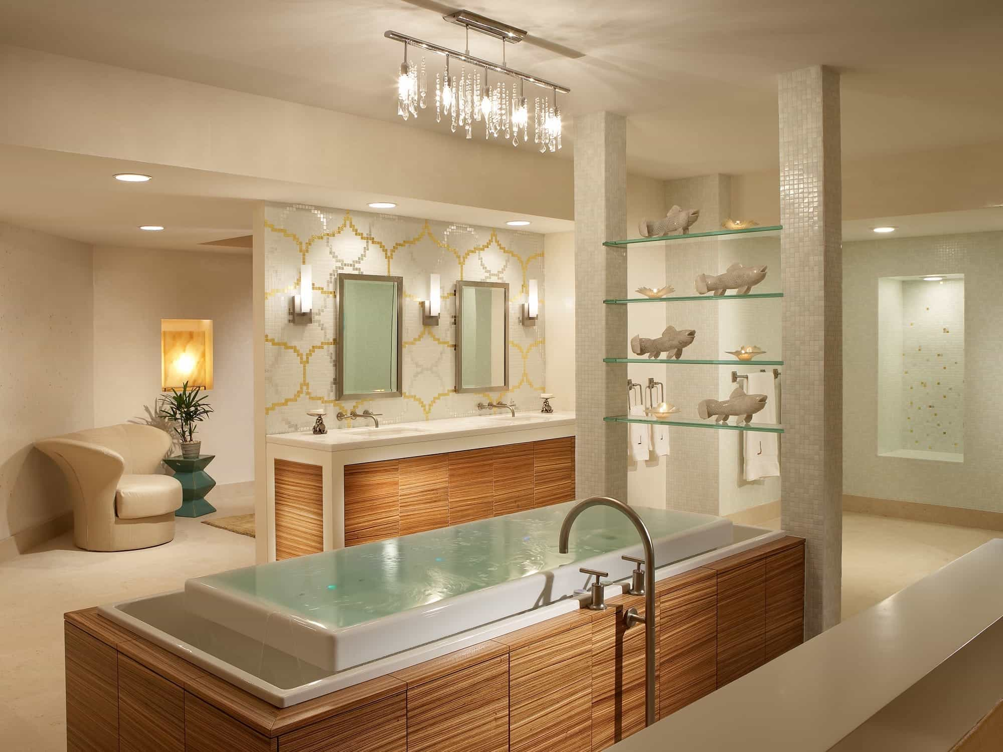 Featured Image of Contemporary Spa Like Bathroom With Glass Shelving