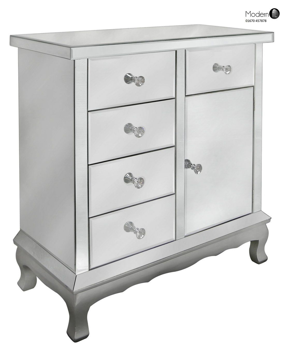 Contemporary Venetian Mirrored Sideboard With 4 Drawers And 1 Door In Venetian Mirrored Sideboard (Image 3 of 15)