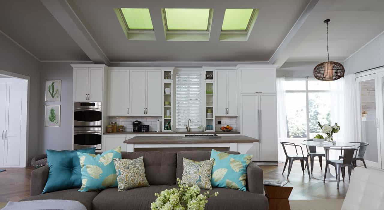 Cool Cool Sun Skylight Shades For Open Space Living Room And Kitchen Interior (Image 5 of 25)