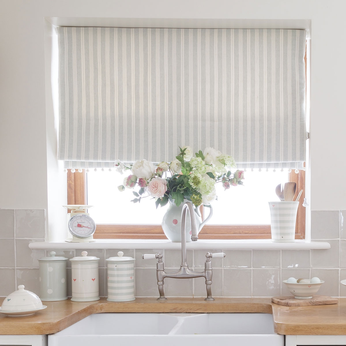Country Blind Inspiration Seaivory Cambridge Stripe Blinds For Cotton Blinds (Image 8 of 15)