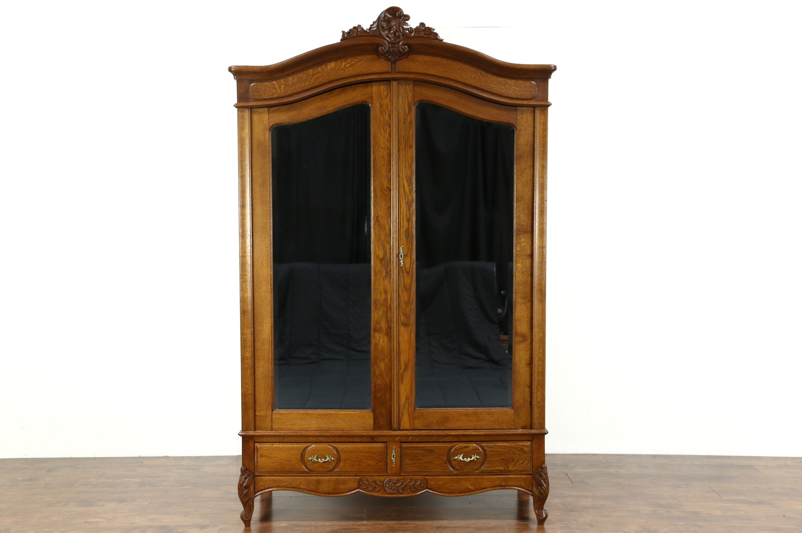 Country French 1920 Antique Oak Armoire Wardrobe Or Closet Regarding Antique Oak Mirrors (View 11 of 15)