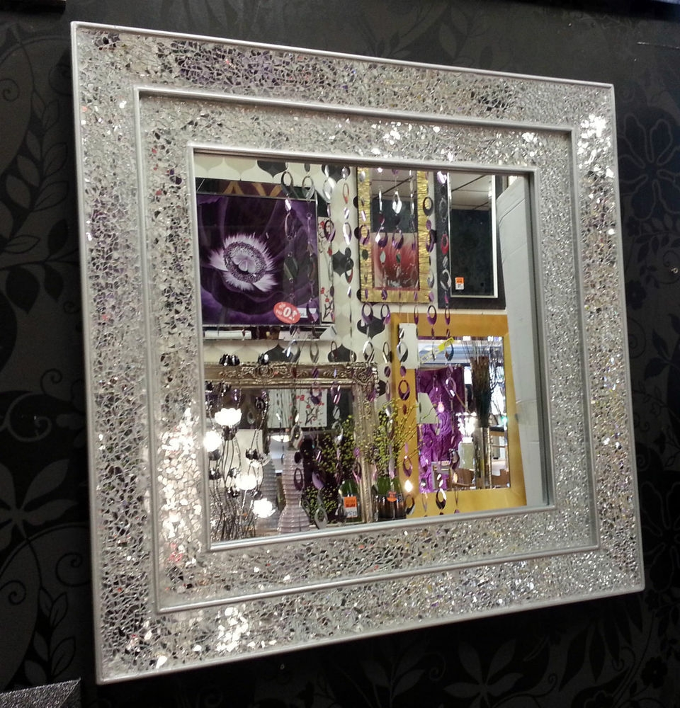 Crackle Glass Mosaic Wall Mirror Square Silver Double Frame Within Large Mosaic Mirrors (Image 3 of 15)