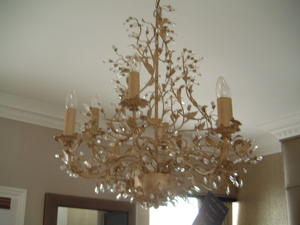 Cream And Gold Leaf Chandelier Hampton Court Interiors With Regard To Gold Leaf Chandelier (Image 4 of 15)