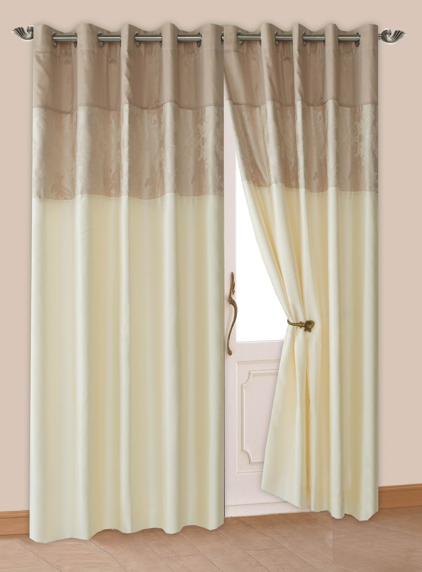 Cream Beige Colour Modern Floral Damask Ringtop Eyelet Lined With Regard To Cream Lined Curtains (Image 2 of 15)