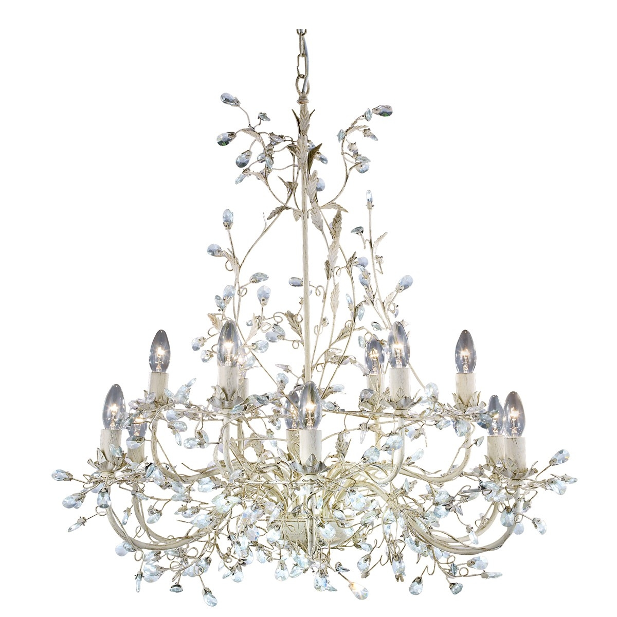 Cream Gold Finish 12 Light Chandelier With Crystal Dressing Pertaining To Cream Gold Chandelier (Image 5 of 15)