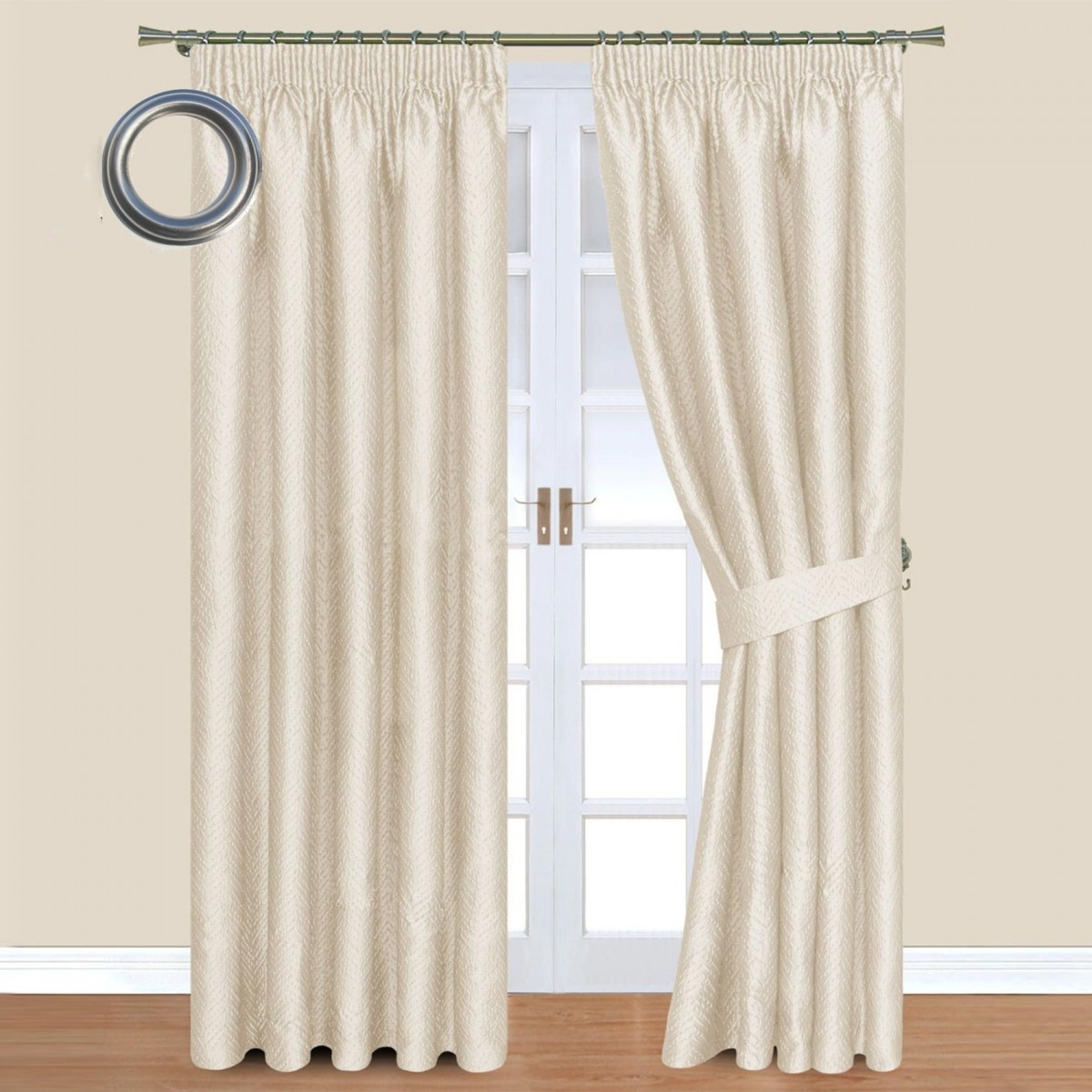 Cream Jacquard Eyelet Lined Curtains Inside Cream Lined Curtains (Image 3 of 15)