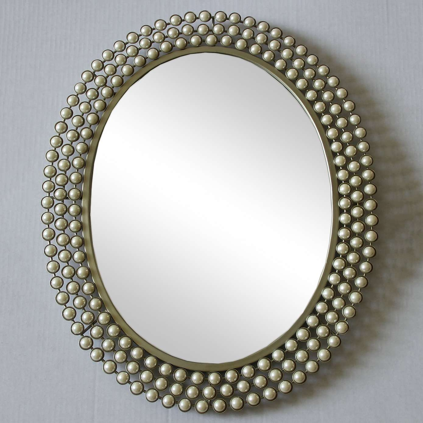 Cream Pearl Effect Wall Mirror Dunelm Home Accesories Throughout Cream Wall Mirror (Image 6 of 15)