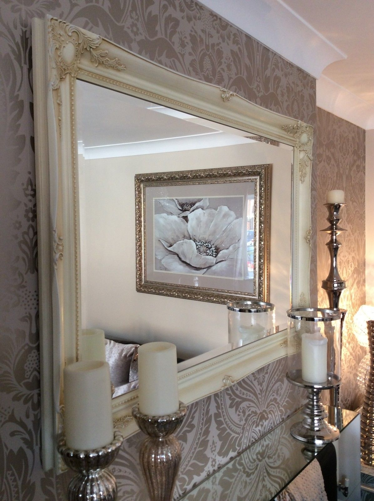 Cream Shab Chic Framed Ornate Wall Overmantle Mirror Choose Throughout Huge Ornate Mirror (Image 4 of 15)