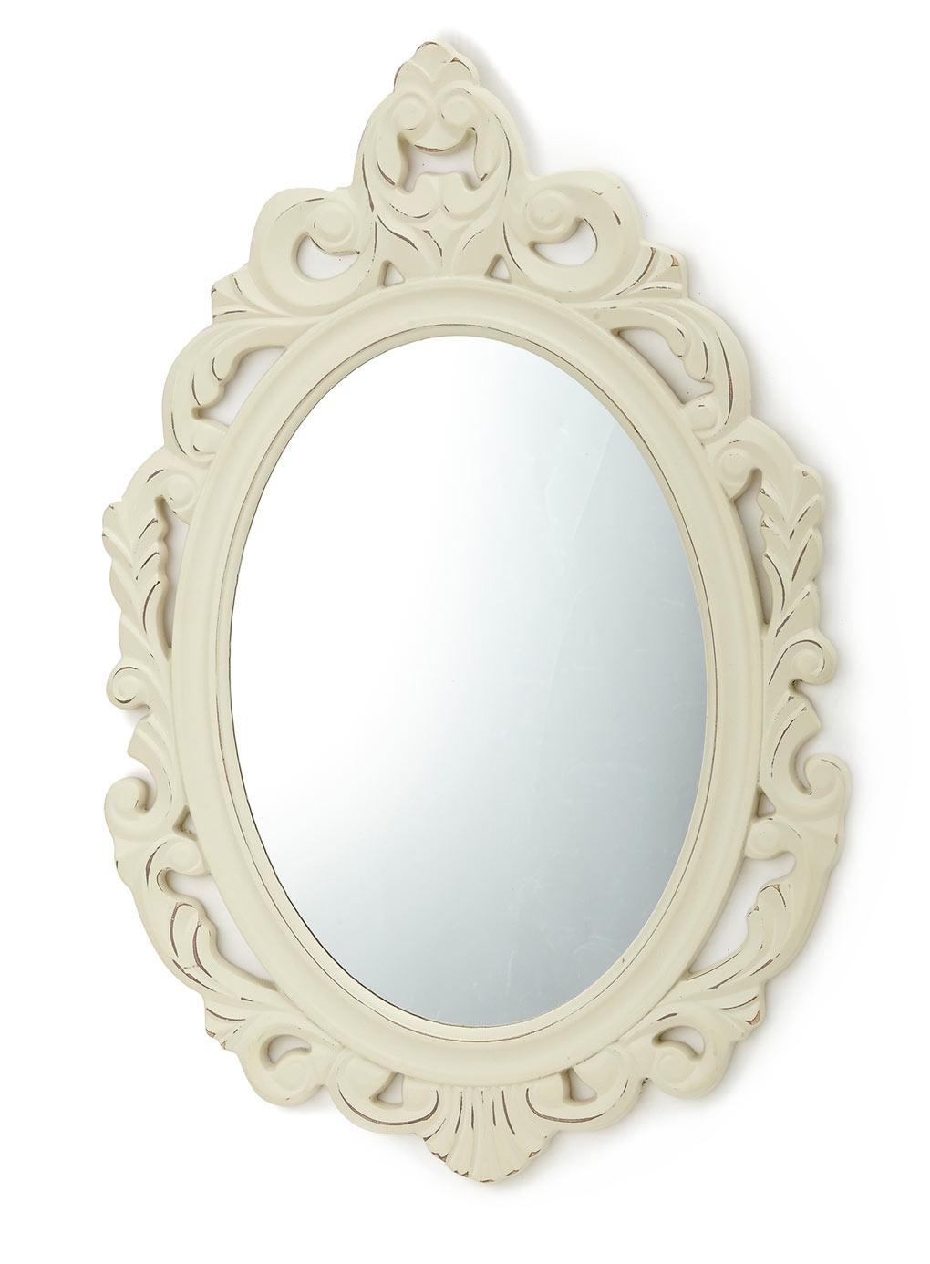 Cream Vintage Scroll Mirror Decorative Accessories Home Throughout Cream Mirror (View 12 of 15)