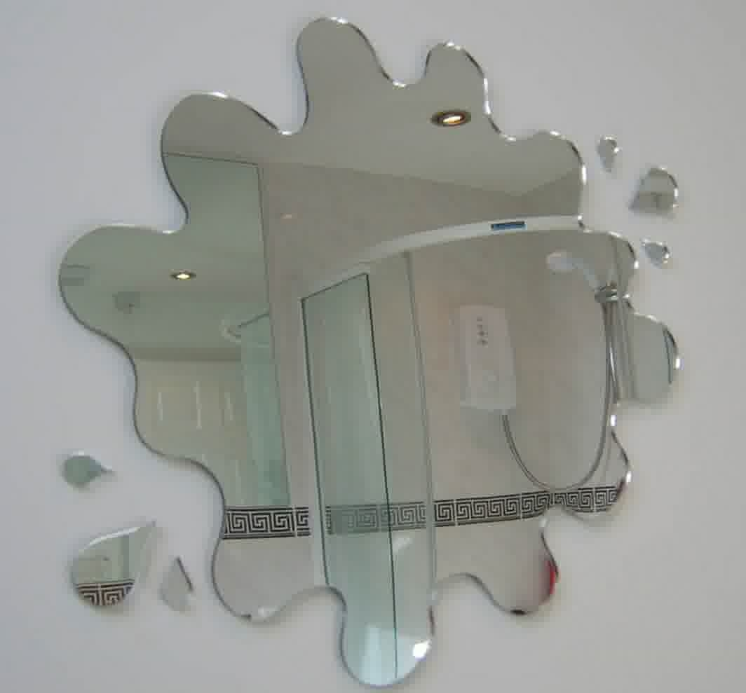 Creative Bathroom Mirror Ideas With A Splash Shape An Round Shower With Regard To Unusual Shaped Mirrors (Image 4 of 15)