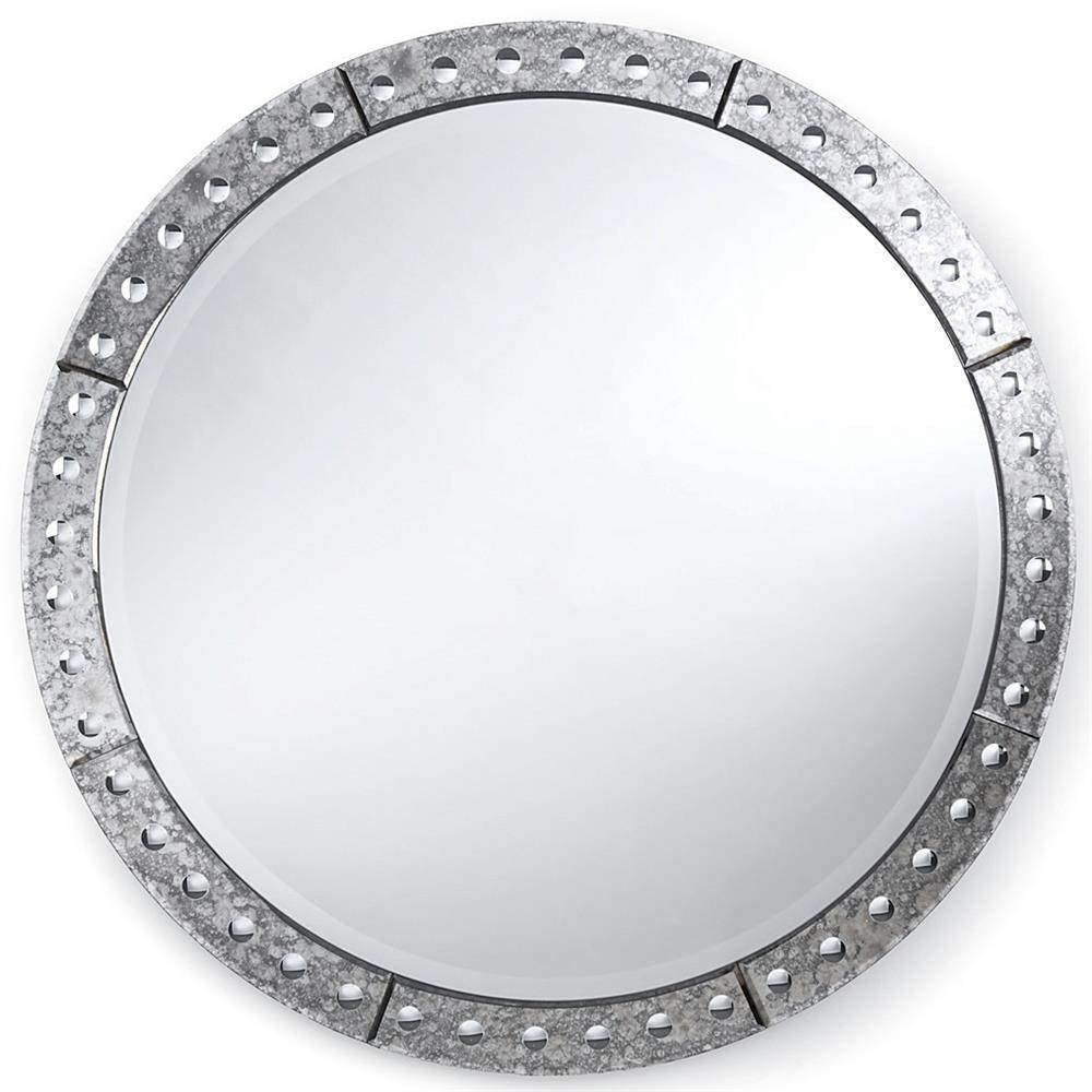 Crewe Hollywood Regency Antique Silver Round Mirror 32 Inch Regarding Silver Round Mirrors (Image 5 of 15)