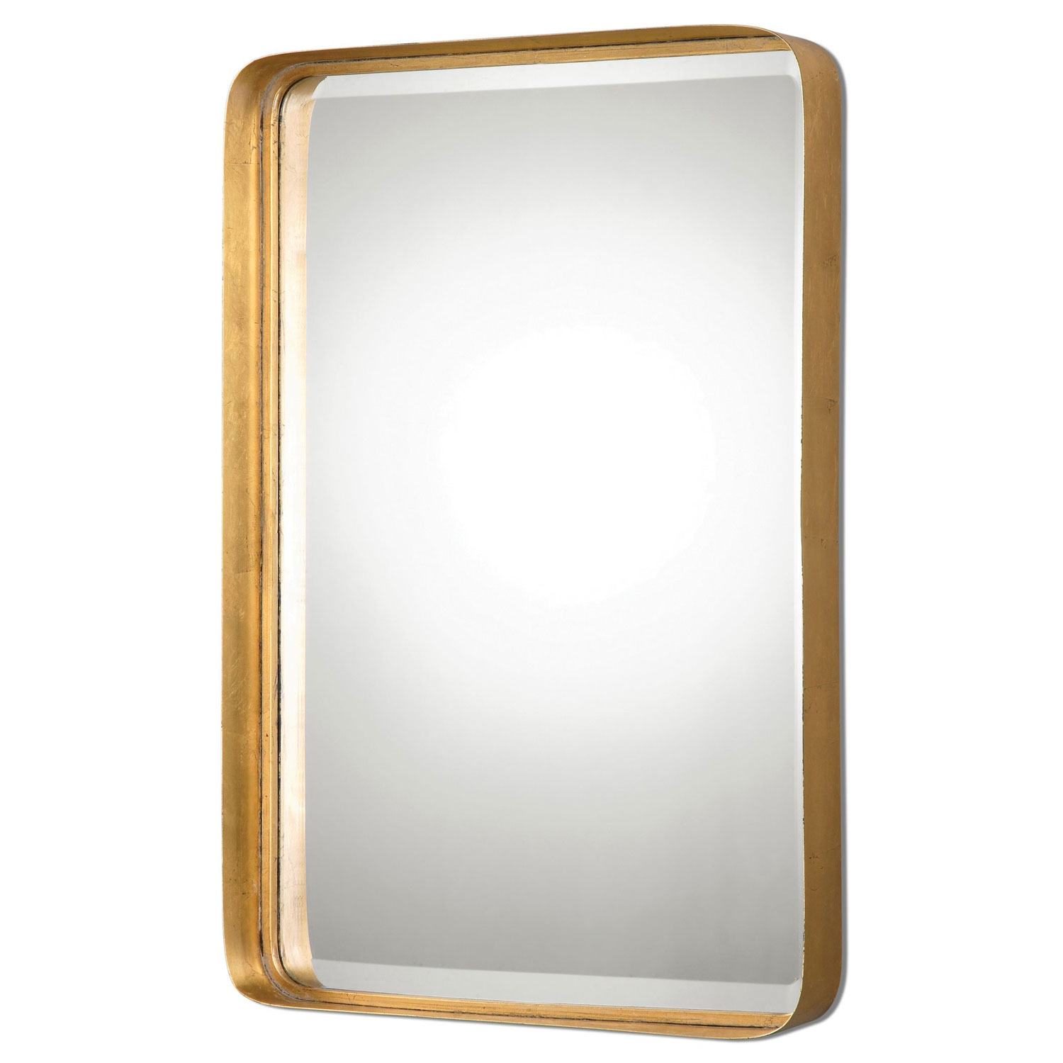 Crofton Antique Gold Mirror Uttermost Rectangle Mirrors Home Decor In Antiqued Wall Mirror (Image 4 of 15)