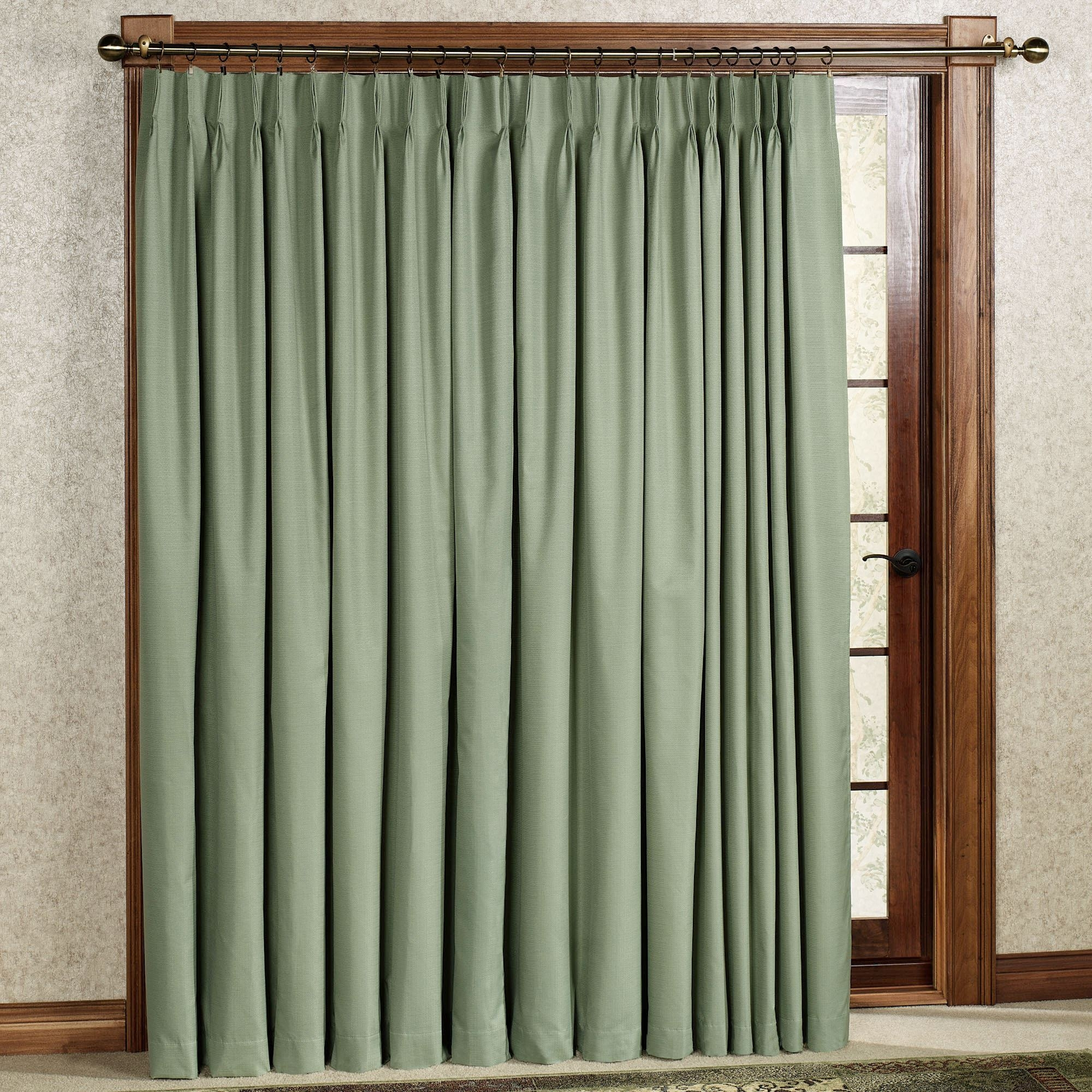 Cros Pinch Pleat Thermal Room Darkening Patio Panel With Thermal Door Curtain (View 12 of 15)