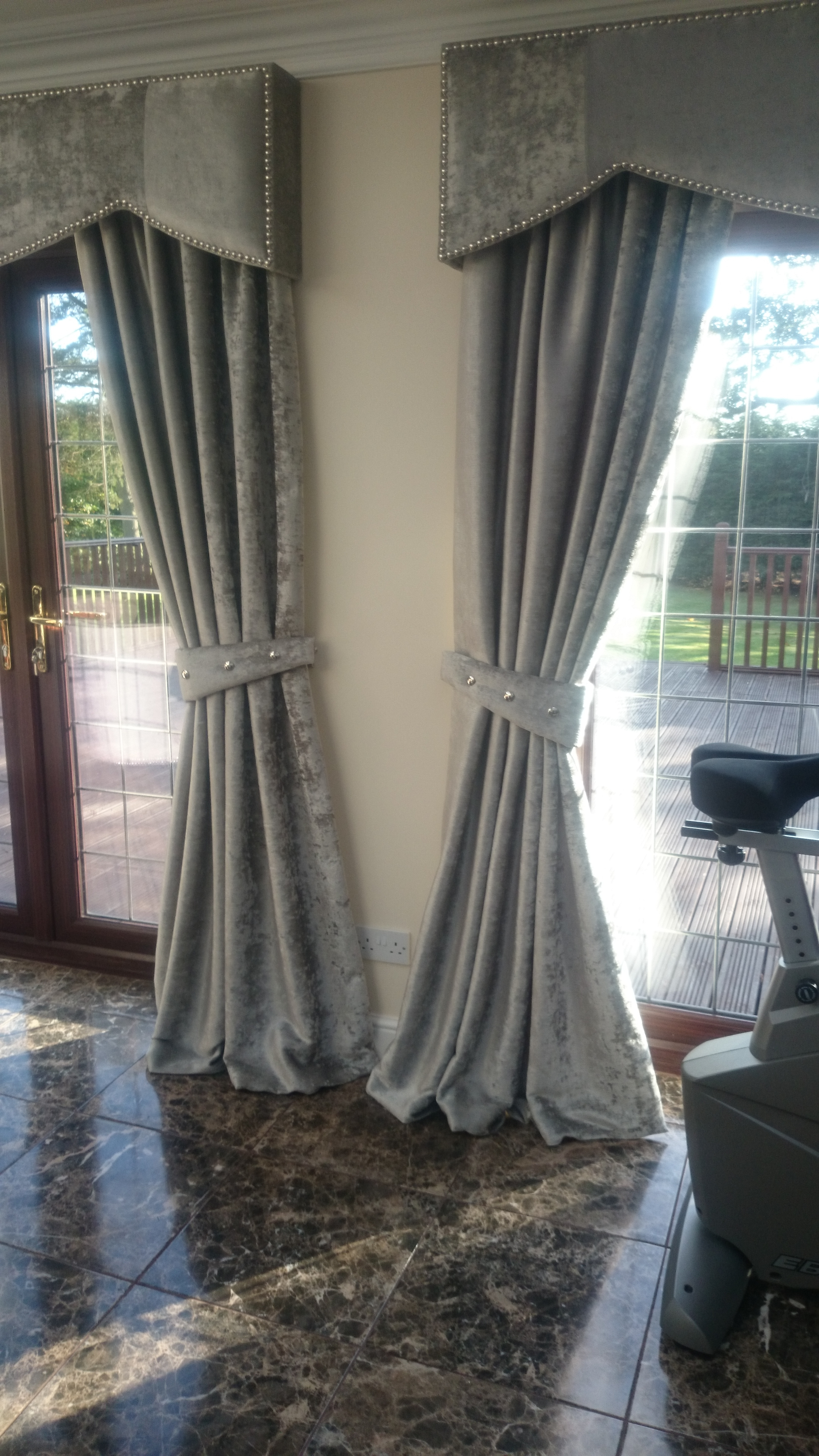 Crushed Velvet Curtains With Hard Wood Upholstered Pelmets And Within Velvet Blinds (Image 3 of 15)