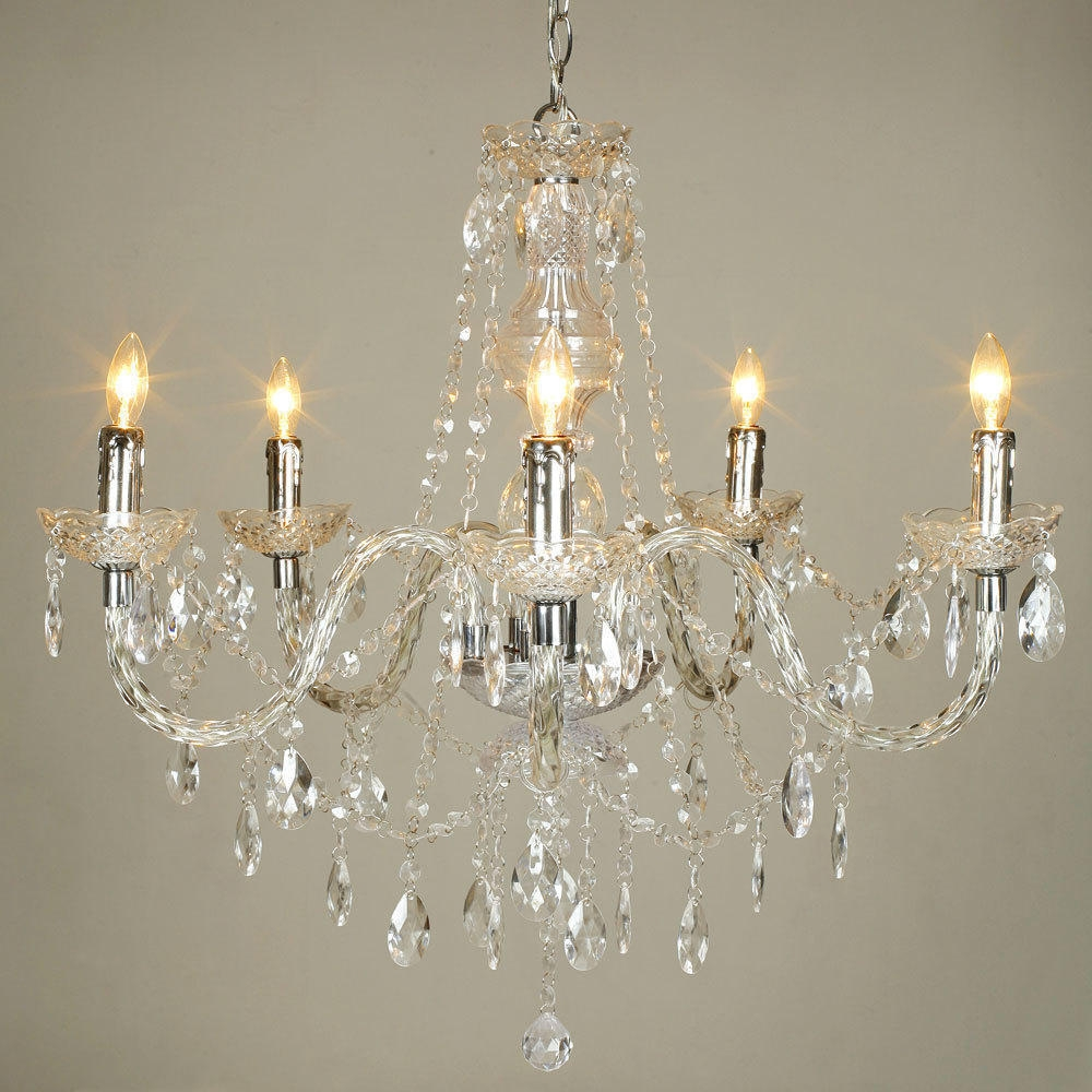 Crystal Acrylic Chandelier 5 Lights At Lightingbox Canada Regarding Chandelier Lights (Image 8 of 15)