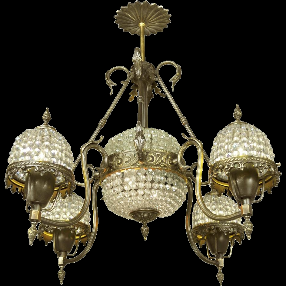 Crystal Basket Style Vintage French Chandelier 4 Arm Ceiling Light For Vintage French Chandeliers (Image 10 of 15)