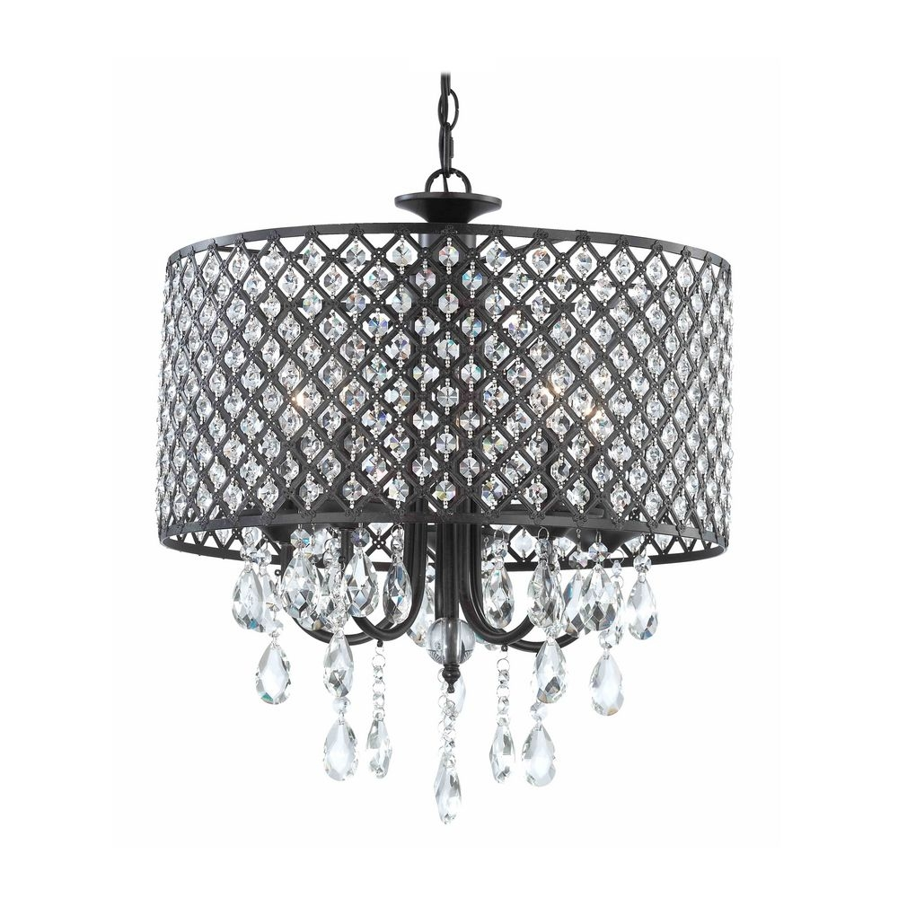 Crystal Chandelier Pendant Light With Crystal Beaded Drum Shade Pertaining To Modern Black Chandelier (Image 7 of 15)