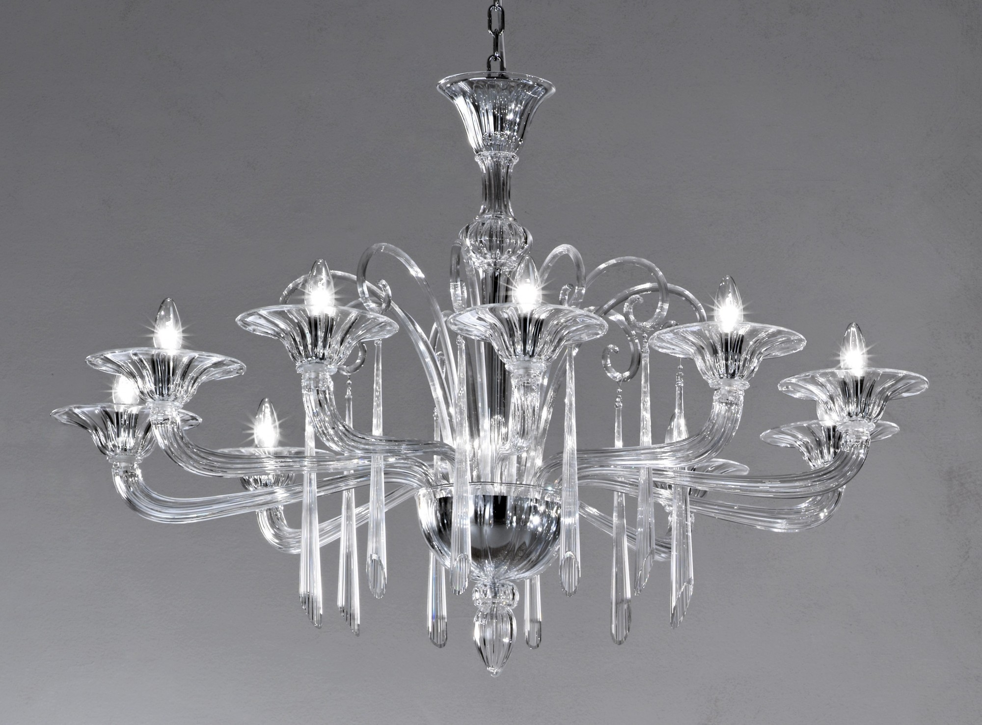 Crystal Clear Modern Murano Chandelier Dml6012k10 Murano Imports Intended For Murano Chandelier (Image 3 of 15)