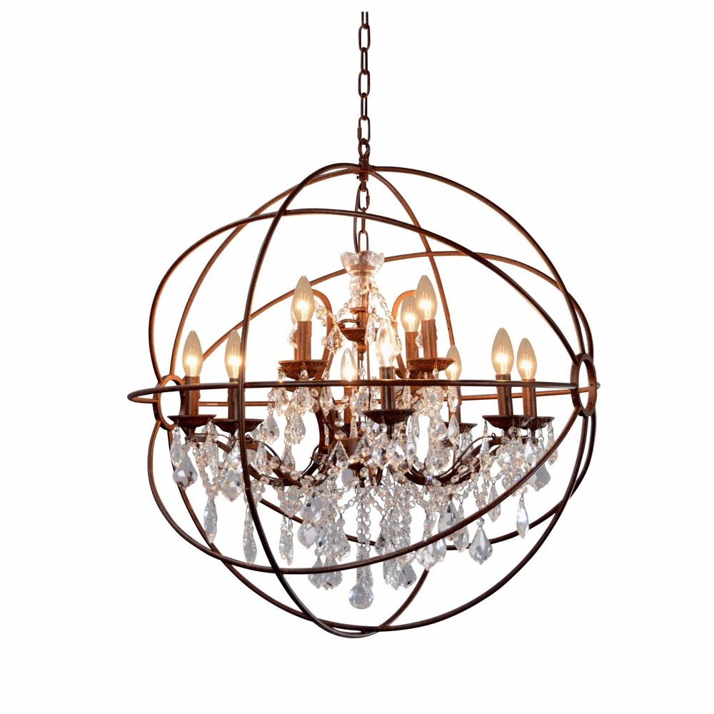 Crystal Globe Chandelier Ebay Regarding Globe Crystal Chandelier (Image 7 of 15)
