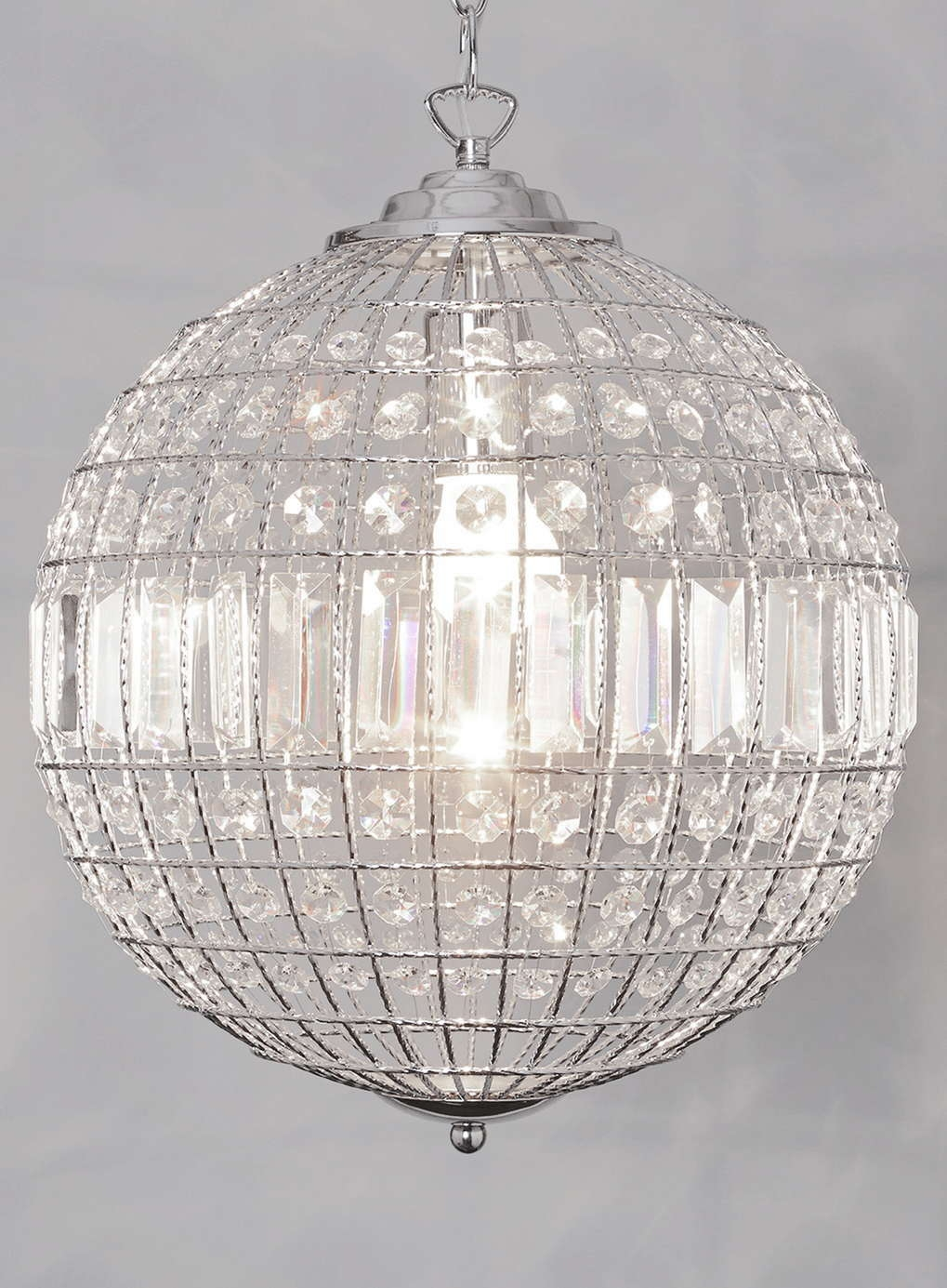 Crystal Globe Pendant Light Roselawnlutheran Within Globe Crystal Chandelier (Image 10 of 15)