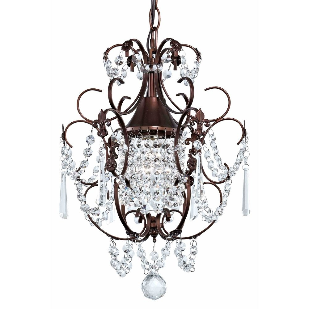 Crystal Mini Chandelier Pendant Light In Bronze Finish 2233 220 Regarding Small Bronze Chandelier (View 1 of 15)